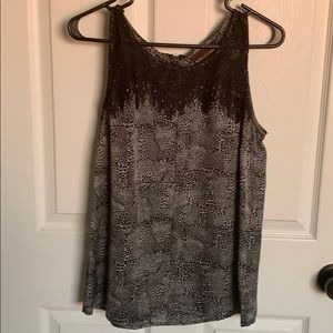 Sleeveless animal print with Lace on top